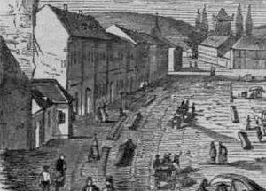 Gravura Sighetului din 1864. Detaliu pe care apare mica capelă, situată imediat dincoace de clădirea etajată a hanului.